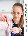 teenager girl with 3d printe.... | Shutterstock . vector #795362968