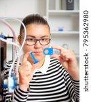 teenager girl with 3d printe.... | Shutterstock . vector #795362980