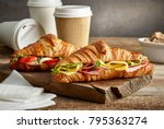 croissant sandwiches and coffee ... | Shutterstock . vector #795363274