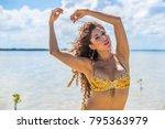 a hispanic brunette model... | Shutterstock . vector #795363979