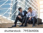 businesspeople consolation on... | Shutterstock . vector #795364006