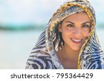 a hispanic brunette model... | Shutterstock . vector #795364429