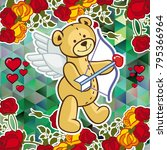 cute teddy bear on a mosaic... | Shutterstock .eps vector #795366964