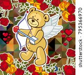 cute teddy bear on a mosaic... | Shutterstock .eps vector #795366970