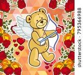 cute teddy bear on a mosaic... | Shutterstock .eps vector #795366988