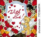 cute teddy bear on a mosaic... | Shutterstock .eps vector #795366994