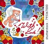 cute teddy bear on a mosaic... | Shutterstock .eps vector #795367000