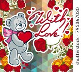 cute teddy bear on a mosaic... | Shutterstock .eps vector #795367030