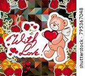 cute teddy bear on a mosaic... | Shutterstock .eps vector #795367048