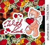 cute teddy bear on a mosaic... | Shutterstock .eps vector #795367054