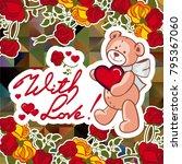 cute teddy bear on a mosaic... | Shutterstock .eps vector #795367060