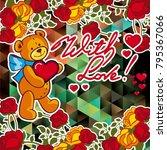 cute teddy bear on a mosaic...   Shutterstock .eps vector #795367066