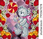 cute teddy bear on a mosaic... | Shutterstock .eps vector #795367078