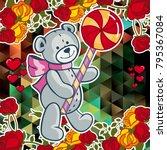 cute teddy bear on a mosaic... | Shutterstock .eps vector #795367084