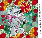 cute teddy bear on a mosaic... | Shutterstock .eps vector #795367090
