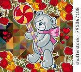 cute teddy bear on a mosaic... | Shutterstock .eps vector #795367108