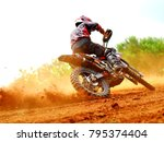 dusty and dirty motocross... | Shutterstock . vector #795374404