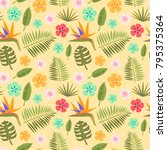 floral tropical vector seamless ... | Shutterstock .eps vector #795375364
