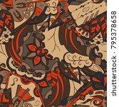 seamless mehndi vector pattern. ...   Shutterstock .eps vector #795378658