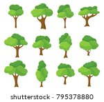 cartoon garden green tree... | Shutterstock .eps vector #795378880