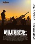 artillery silhouettes vector... | Shutterstock .eps vector #795379750