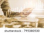 double exposure businessman and ... | Shutterstock . vector #795380530