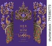 indian wedding invitation card... | Shutterstock .eps vector #795380773