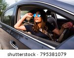 asian woman driving on the car... | Shutterstock . vector #795381079