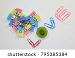 symbol of love made by paper... | Shutterstock . vector #795385384