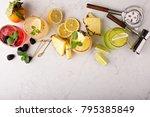 variety of margarita cocktails... | Shutterstock . vector #795385849