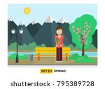 warm weather on a spring day... | Shutterstock .eps vector #795389728