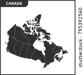 the detailed map of the canada... | Shutterstock .eps vector #795392560