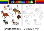 coloring book farm animals... | Shutterstock .eps vector #795394744