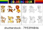coloring book with wild cats... | Shutterstock .eps vector #795394846