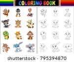 coloring book with animals... | Shutterstock .eps vector #795394870