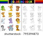 coloring book with cartoon wild ... | Shutterstock .eps vector #795394873
