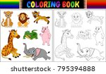 coloring book with wild animals ... | Shutterstock .eps vector #795394888