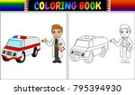 coloring book with young doctor ... | Shutterstock .eps vector #795394930