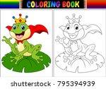 coloring book king frog cartoon | Shutterstock .eps vector #795394939