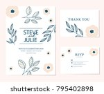 wedding card invitation  | Shutterstock .eps vector #795402898