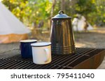 old retro iron camp kettle and... | Shutterstock . vector #795411040