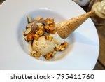 chocolate and vanilla icecream... | Shutterstock . vector #795411760
