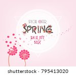 spring sale background with... | Shutterstock .eps vector #795413020