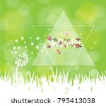 spring sale background with... | Shutterstock .eps vector #795413038