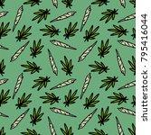marijuana leaf and spliff ... | Shutterstock .eps vector #795416044