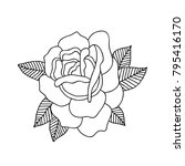 rose flower traditional tattoo... | Shutterstock .eps vector #795416170