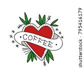 heart coffee illustration... | Shutterstock .eps vector #795416179