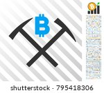 bitcoin mining hammers icon... | Shutterstock .eps vector #795418306