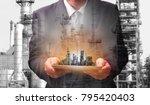 double exposure of engineer... | Shutterstock . vector #795420403