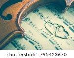 brass heart and a violin | Shutterstock . vector #795423670